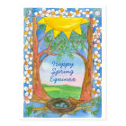 Happy Spring Equinox Sunshine Bird Trees Nature Postcard
