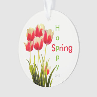 Happy Spring Red Tulips with Date Keepsake