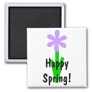 Happy Spring! Square Magnet
