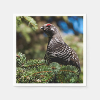 Happy Spruce Grouse Paper Napkin
