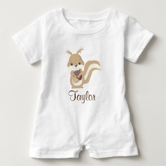 Happy Squirrel Personalise Baby Bodysuit