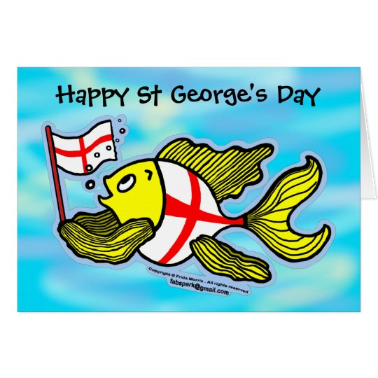Happy St Georges Day fun cartoon english flag