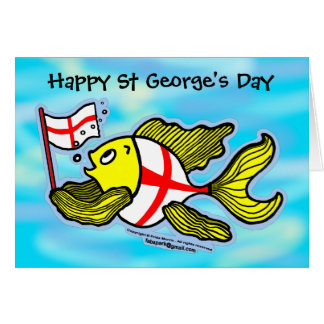 Happy St Georges Day fun cartoon english flag fish Greeting Card