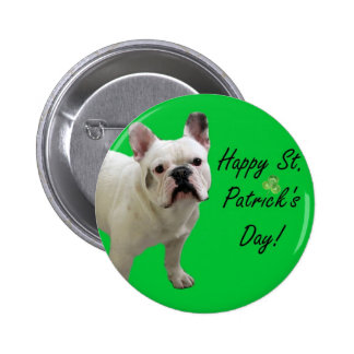 Happy St Patrick s Day French Bulldog button