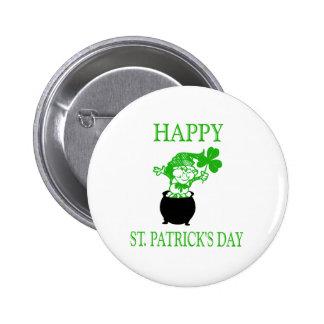 Happy St Patrick s Day Leprechaun Pinback Button