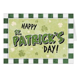Happy St Patrick s Day - Shamrock and Gingham Greeting Card