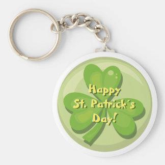 Happy St. Patrick´s Day Shamrock Basic Round Button Key Ring