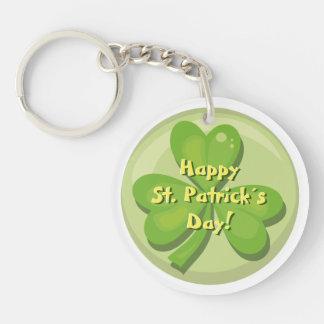 Happy St. Patrick´s Day Shamrock Double-Sided Round Acrylic Key Ring