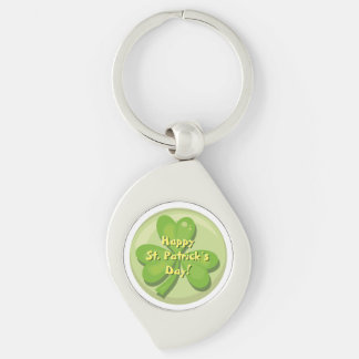Happy St. Patrick´s Day Shamrock Silver-Colored Swirl Keychain