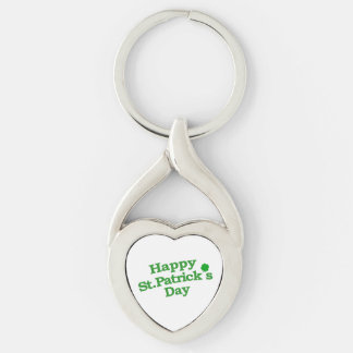 Happy St. Patrick´s Day Typographic Design Silver-Colored Twisted Heart Key Ring