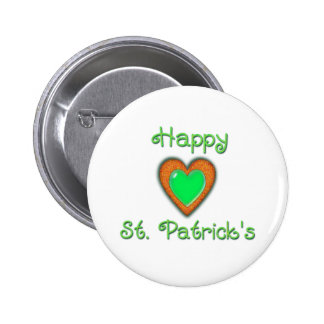 HAPPY ST PATRICK S HEART by SHARON SHARPE Pinback Buttons