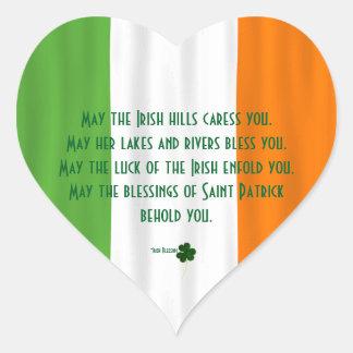 Happy St. Patrick's Blessing Irish Flag Shamrock Heart Sticker