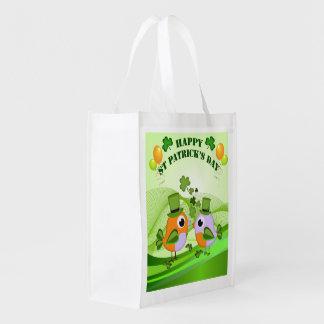 Happy St Patricks Day birds Reusable Grocery Bag