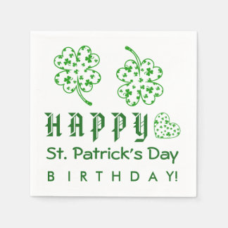 Happy St. Patrick's Day Birthday Shamrocks A03A Disposable Napkin