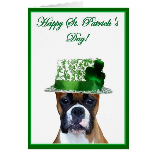 Happy St. Patrick's Day Boxer greeting card