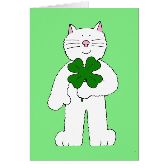 Happy St Patrick's Day Cat with giant shamrock. Card