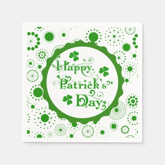 Happy St. Patrick's Day Floral Text Design Disposable Serviette