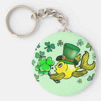 Happy St. Patrick's Day Goldfish Green Shamrocks Key Ring