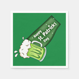 Happy St Patricks Day Green Beer Banner Disposable Serviette