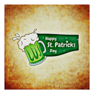 Happy St. Patrick's Day Green Beer Square Poster