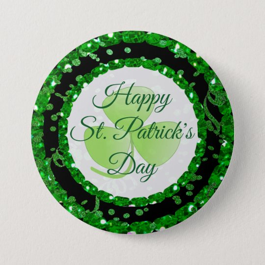 Happy St Patrick's Day Green Black Confetti Button