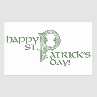 Happy St Patrick's Day Green Celtic Rectangular Sticker