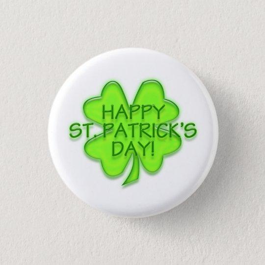 Happy St. Patrick's Day Green Shamrock Pin