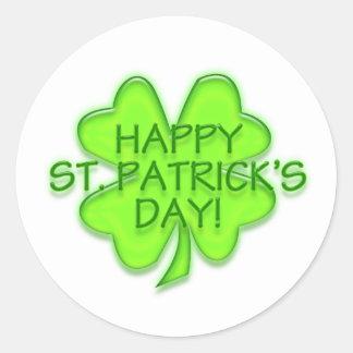 Happy St. Patrick's Day Green Shamrock Stickers