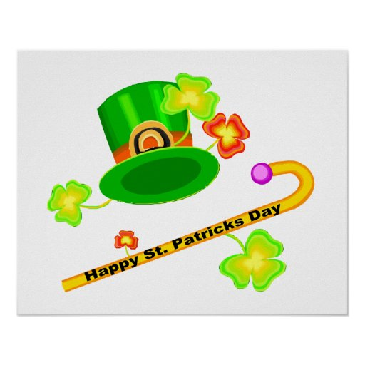 Happy St. Patrick's Day Hat & Cane Collage Posters