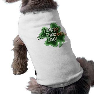 Happy St Patrick's Day (Irish Flag Color Text) Sleeveless Dog Shirt