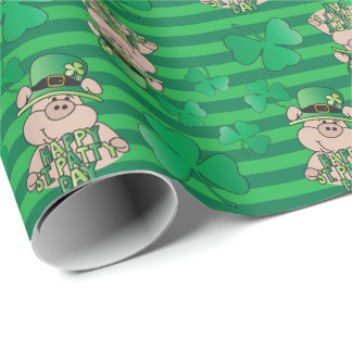 Happy St. Patrick's Day Irish Pig Wrapping Paper