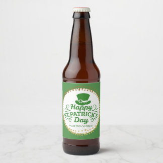Happy St Patricks Day Leprechaun Hat Custom Text Beer Bottle Label