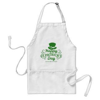 Happy St Patricks Day Leprechaun Hat Custom Text Standard Apron