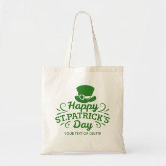 Happy St Patricks Day Leprechaun Hat Custom Text Tote Bag