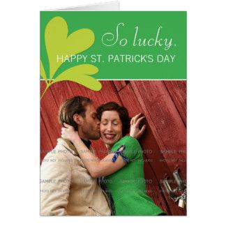 Happy St Patricks Day Lucky Shamrock Green Photo Greeting Cards