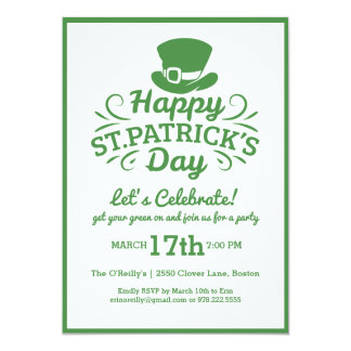 Happy St Patricks Day Party Leprechaun & Shamrocks 13 Cm X 18 Cm Invitation Card
