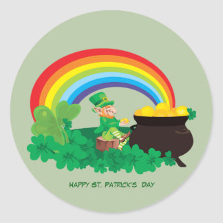 Happy St. Patrick's Day Pot of Gold and Rainbow Classic Round Sticker