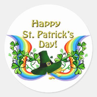 Happy St. Patrick's Day Rainbow Shamrocks Clovers Round Sticker