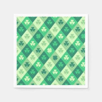 Happy St Patricks Day Shamrock Clover Pattern Disposable Napkins