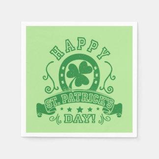 Happy St Patrick's Day Shamrock Disposable Napkin