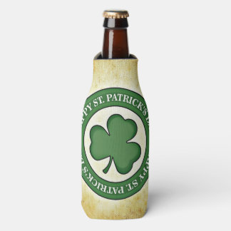 Happy St. Patrick's Day Shamrock Green Border Bottle Cooler