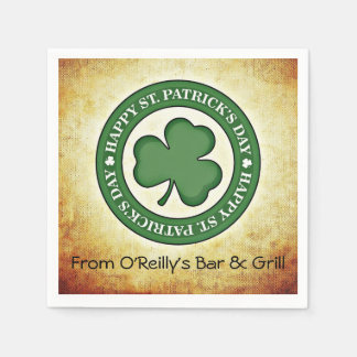 Happy St. Patrick's Day Shamrock Green Border Paper Napkin