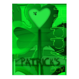 Happy St Patrick's Day Shamrock Heart - Postcard