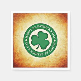 Happy St. Patrick's Day Shamrock Square Napkin Disposable Serviette