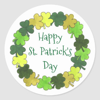 Happy St. Patrick's Day Shamrock Wreath Stickers