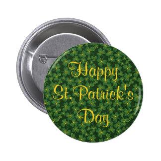 Happy St. Patrick's Day Shamrocks Button