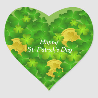 Happy St. Patrick's Day Shamrocks Heart Sticker