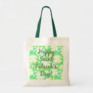 Happy St Patrick's Day Shamrocks Retro Watercolor Budget Tote Bag