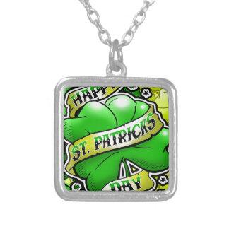 Happy St Patricks Day Square Pendant Necklace