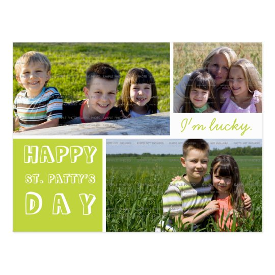 Happy St Patricks Day Three Photos Green White Postcard